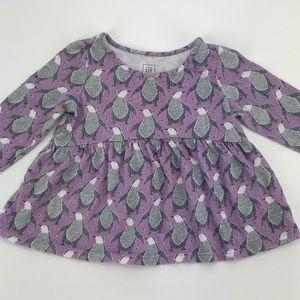 BabyGAP Purple Gray Penguin Dress Top 12-18M
